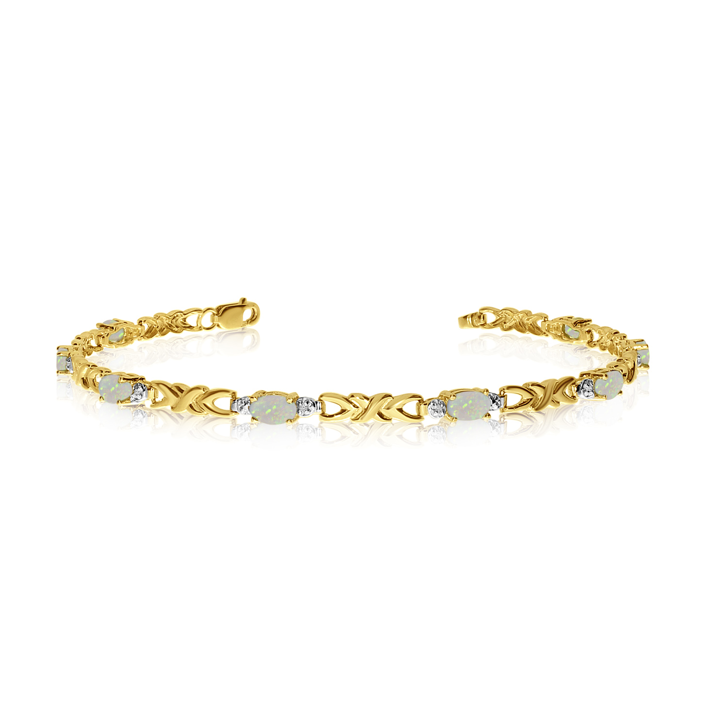 14K Yellow Gold Oval Opal and Diamond Bracelet by