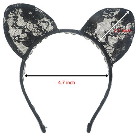 Wowlife Bunny Rabbit Ears Sexy Rabbit Ears Lace Mask Veil Headband Supply for Nightclubs & Masquerade & Halloween & Christmas (Style 02) - image 4 of 4