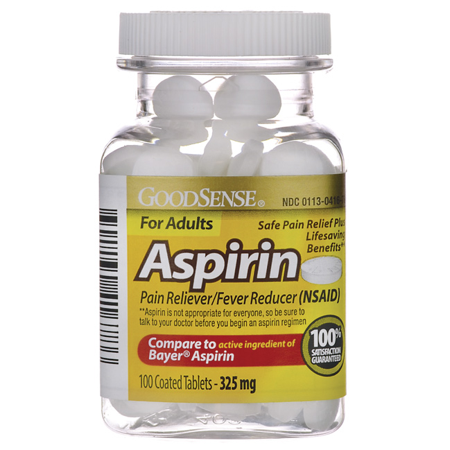 Good Sense Aspirin For Adults 325 mg 100 Tabs Flu 100 Tabs