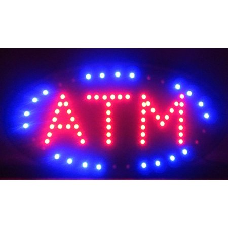 - 2xhome - ATM LED Neon Light Open Sign Highly Visible with Color Animation Power On/off Two Switch Switches for Business ATM with Chain