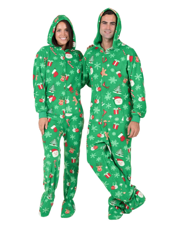 Christmas Pajamas Onesie.Footed Pajamas Tis The Season Adult Hoodie Drop Seat Fleece Onesie