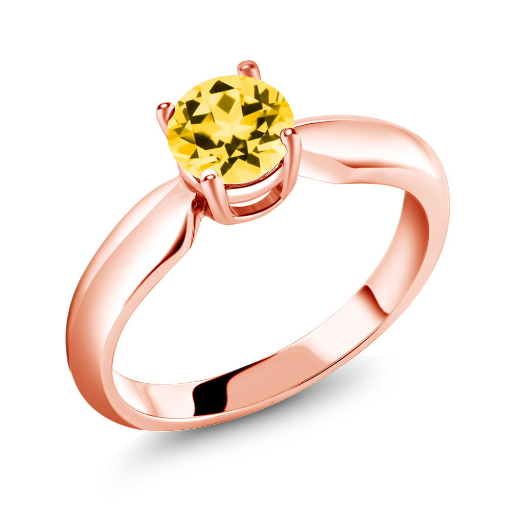 18K Rose Gold Ring Set with Round Honey Topaz from Swarovski