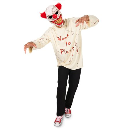 Carn-Evil Playful Clown with Mask Adult Costume](Evil Clown Mask For Sale)