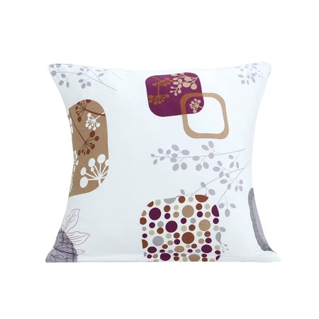 Home Sofa Polyester Flower Print Zipper Pillowcase Cushion Cover 18 x 18 (Flower Print Zipper)