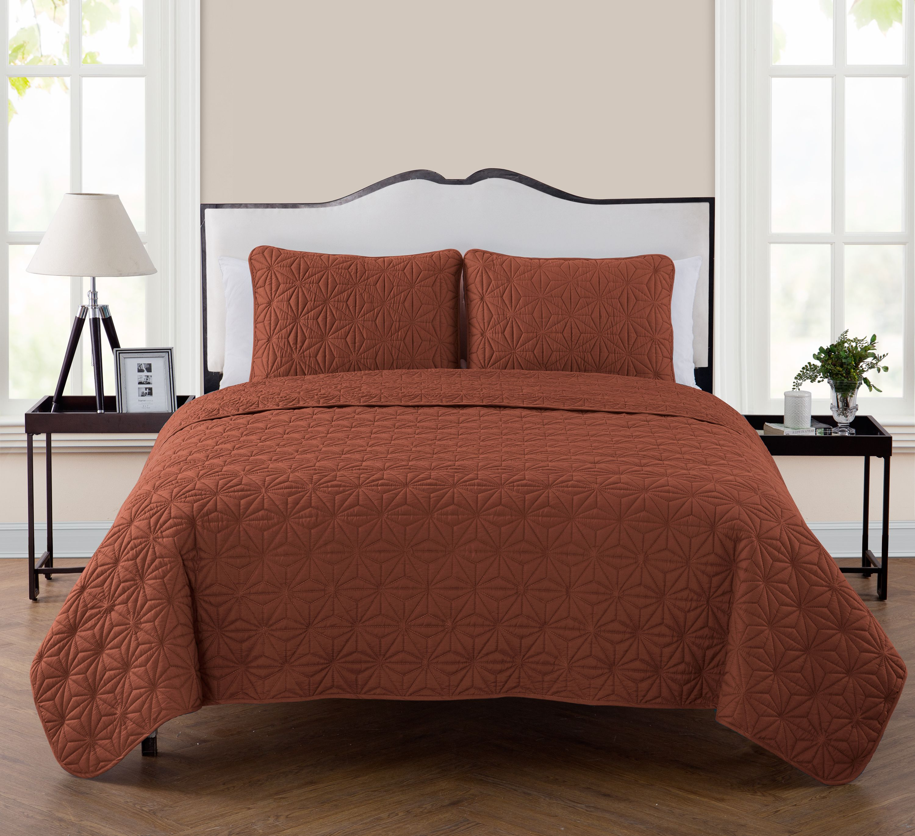 VCNY Home Kaleidoscope 3-Piece Geometric Embossed Bedding Quilt Set, Multiple Colors and Sizes Available