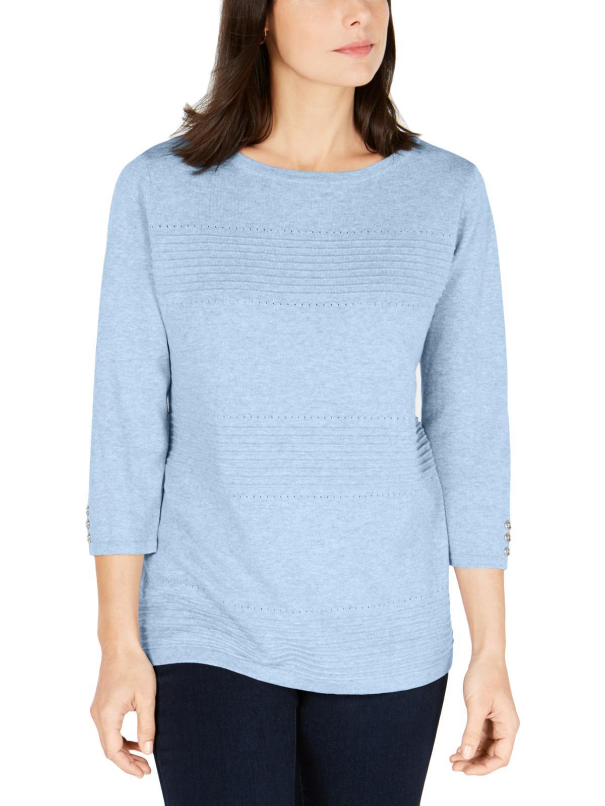Karen Scott Womens Plus Gray 1//2 Zip Front Ribbed Mock Turtleneck Sweater 3X