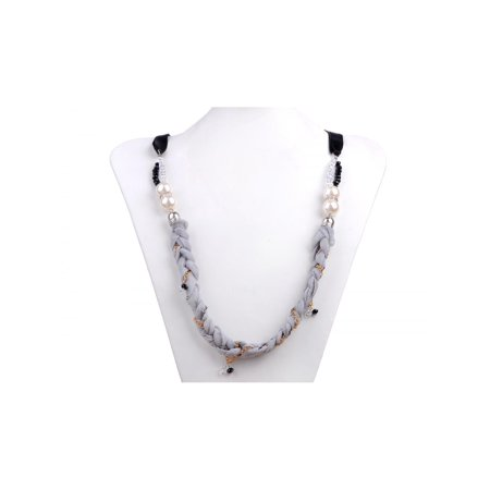 Faux Pearl Grey Fabric Gold Chain Jeweled Variety Platter Spicy Magic Necklace