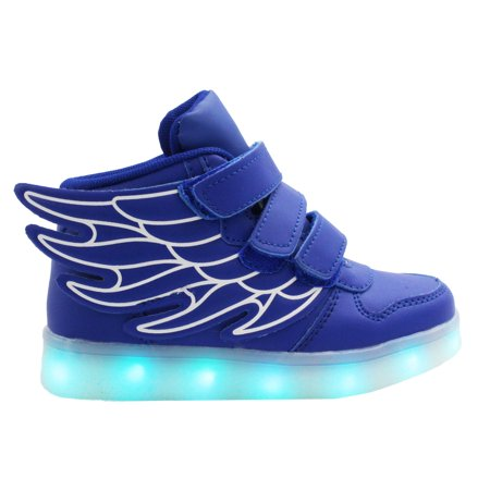 2643bd98807d5 Galaxy LED Shoes Light Up USB Charging High Top Wings Kids Sneakers (Blue)