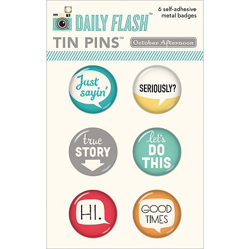 Daily Flash Tin Pins Adhesive Metal Badges, 6/Pkg