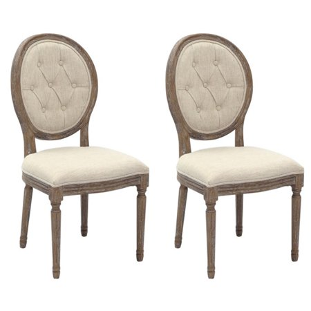 Magnificent 2Xhome Set Of 2 Modern Upholstered French Victoria Vintage Antique Brushed Tufted Parsons Linen Round Back Dining Chair Cream Fabric Beige Wood Leg Cjindustries Chair Design For Home Cjindustriesco