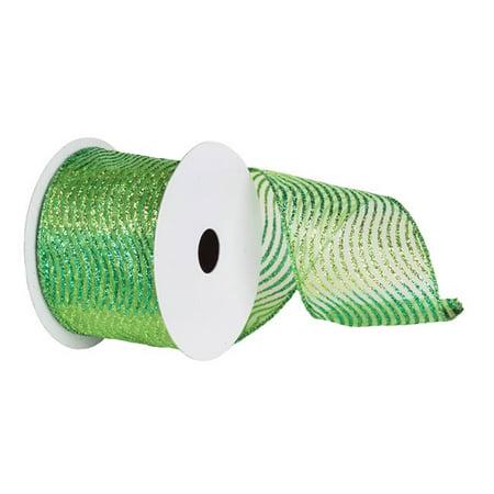 Vickerman Q142712 Lime & Green Glitter Swirl Mesh Ribbon, 4 in. x 10 yard - image 1 de 1