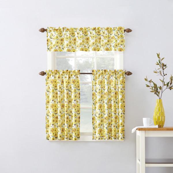 Mainstays Sunflower 3 Piece Kitchen Curtain Tier And Valance Set Walmart Com Walmart Com