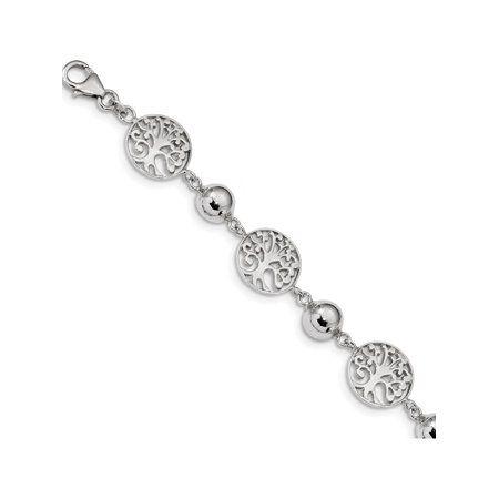 925 Sterling Silver Rhodium-plated Round Tree & Circle w/1in ext. Bracelet - image 1 of 1