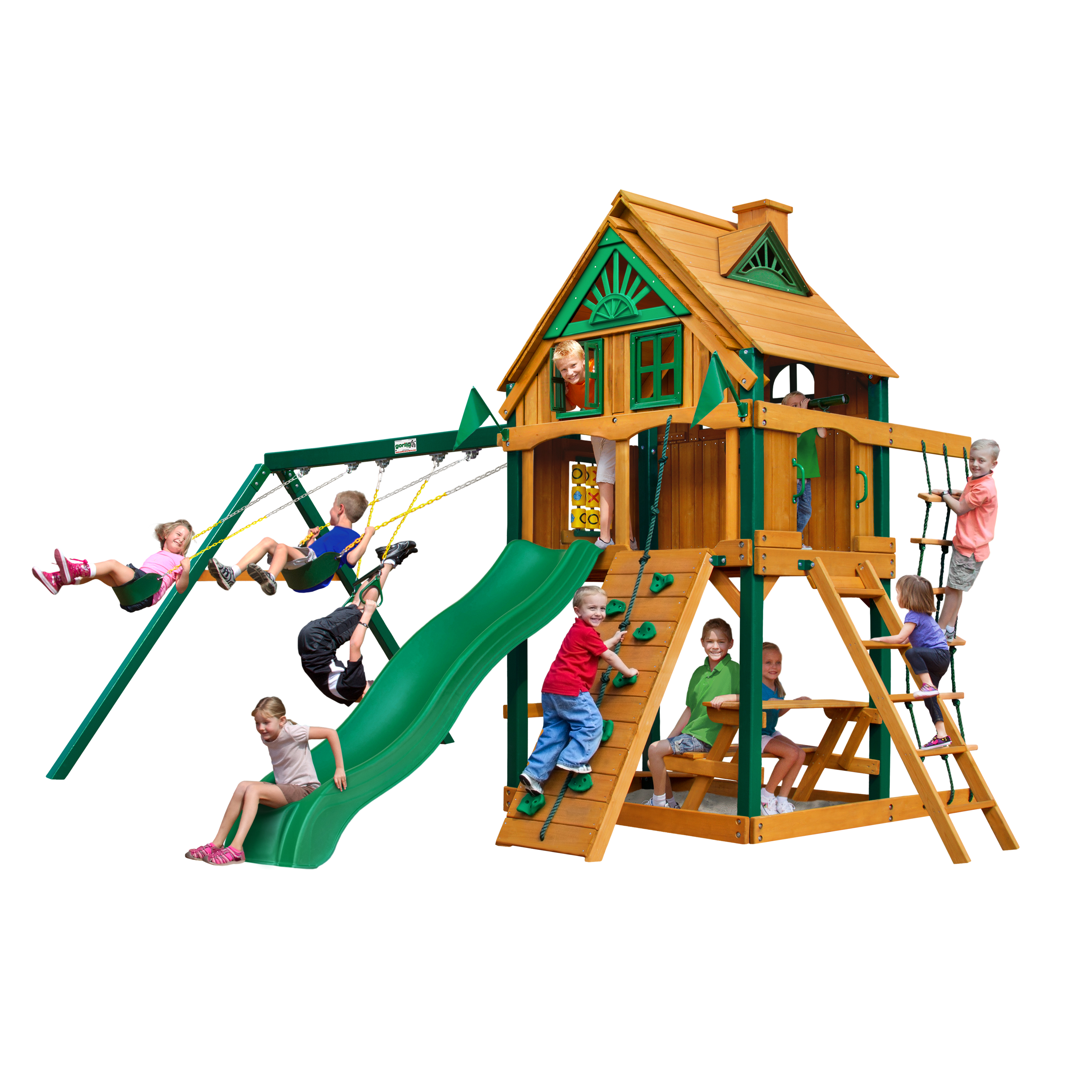 Gorilla Playsets Chateau Clubhouse Treehouse Cedar Swing Set with Fort Add-On & Timber Shield Posts