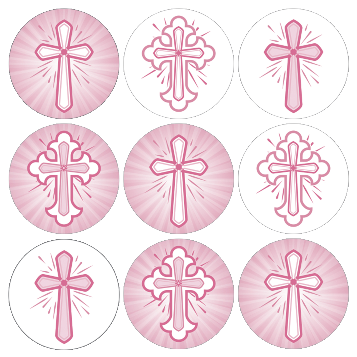 Baby Girl Baptism Favor Stickers - 216ct - Religious Christian Pink Crosses - Christening First Communion Decorations Party Supplies - Set of 216 Stickers