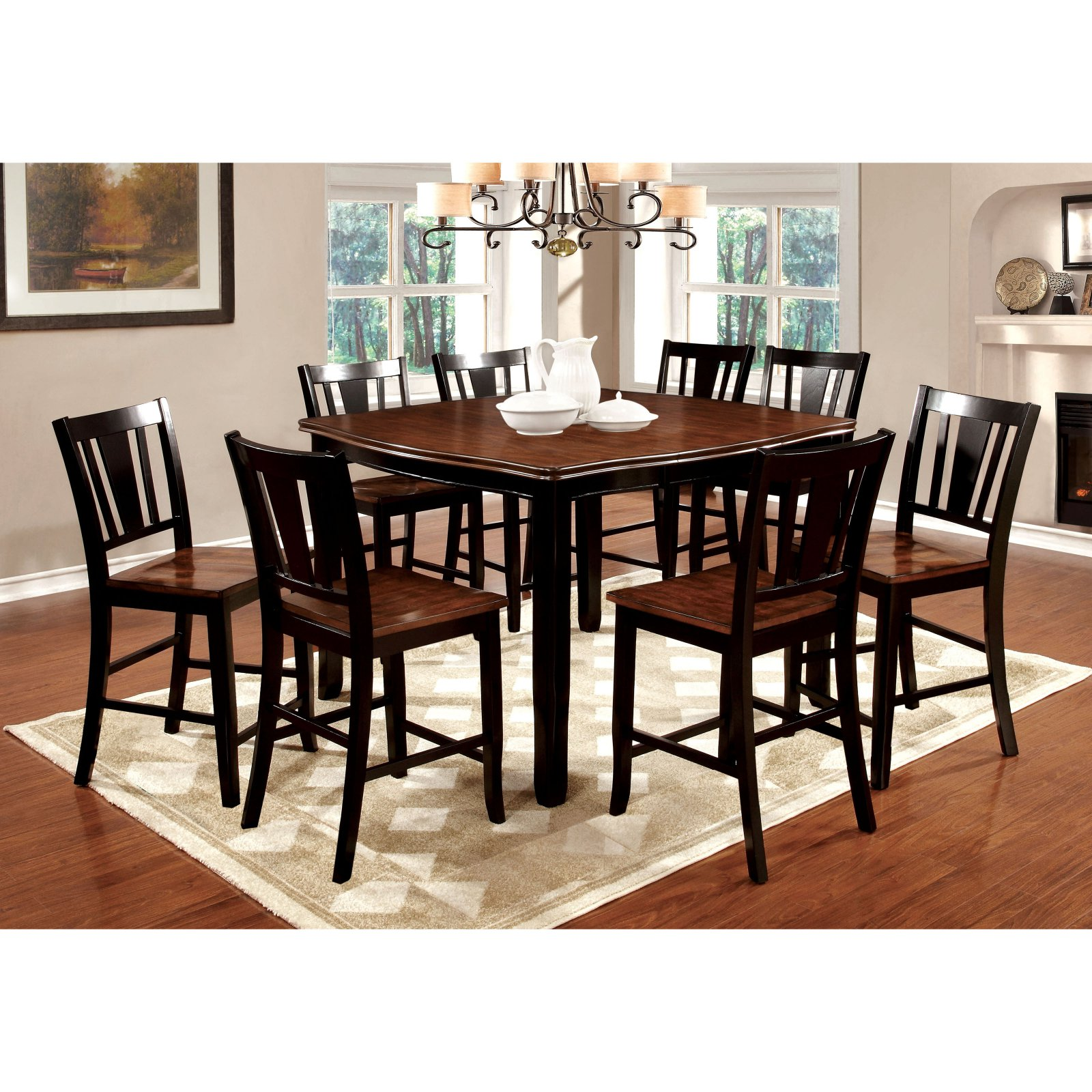 Furniture Of America Lohman 9 Piece Counter Height Dual Tone Dining Table  Set