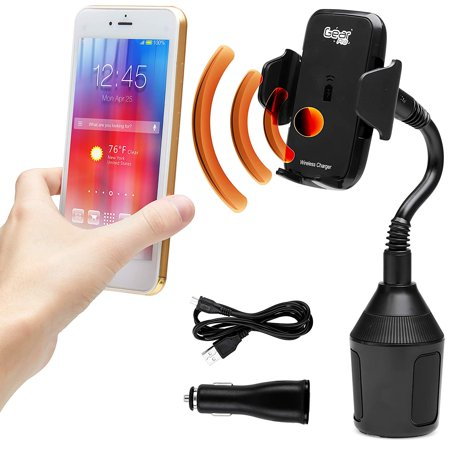 Gear Pro Wireless Phone Car Cup Holder Charger Mount | 360 Degree Fully Adjustable Goose Neck | 10W Qi Fast Charging | Universal Compatible with all Qi Enabled Apple iPhones and Samsung Android Phones