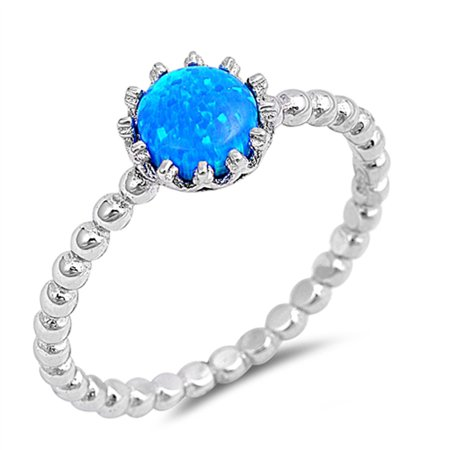 CHOOSE YOUR COLOR Blue Simulated Opal Solitaire Ring New .925 Sterling Silver Bead Ball Band (Blue Simulated Opal/Ring Size 5)
