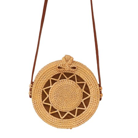 Handwoven Round Rattan Bag crossbody bags with Leather Straps Handmade Wicker Woven Purse Natural Chic Circle Handbag Wicker Woven Handbag