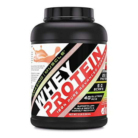 Amazing Muscle Whey Protein (Isolate & Concentrate) - Strawberry Flavor - 5 (Cellucor Whey Best Flavor)