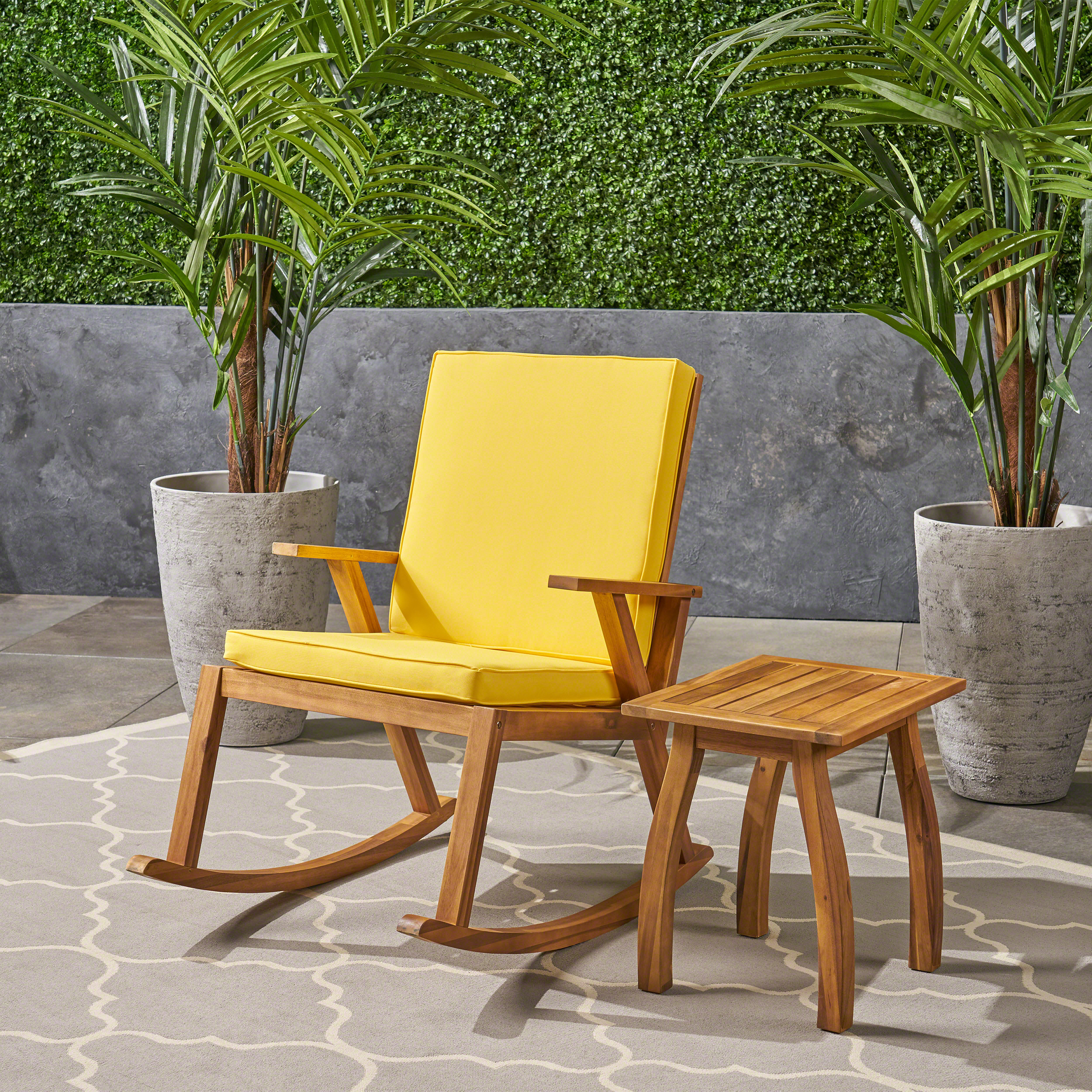 Alize Outdoor Acacia Wood Rocking Chair and Table Set, Teak, Yellow