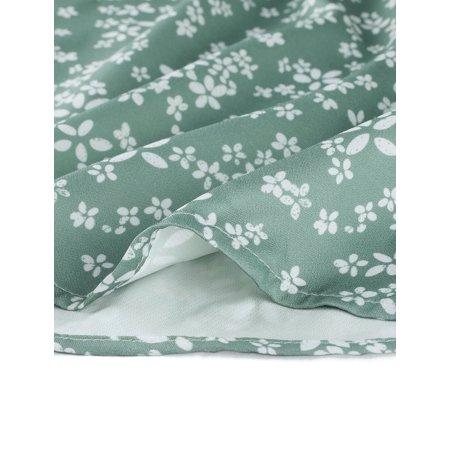 Women's Floral V-Neck Slim Bodycon Pencil Sheath Dress Green XS (US 2) - image 3 de 6