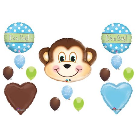 1 X It's a Boy Monkey BABY Shower Balloons Decorations Supplies Jungle (Seek Safari Monkey)