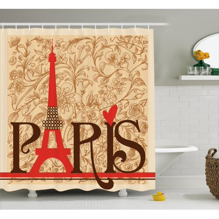 Vintage Decor Shower Curtain Set, Paris Vintage Floral French Eiffel Tower City Holiday Stylish Postcards Gifts, Bathroom Accessories, 69W X 70L Inches, By Ambesonne
