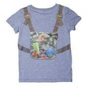 Udoo Planet Little Boys Grey Khaki Camouflage Backpack Playful T-Shirt 3T-6
