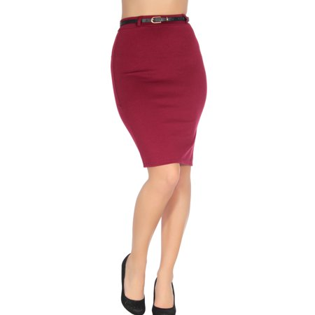 Belted Pencil Skirt - Women's Belted Plain Long Bodycon Stretch Pencil Skirt with High Waist