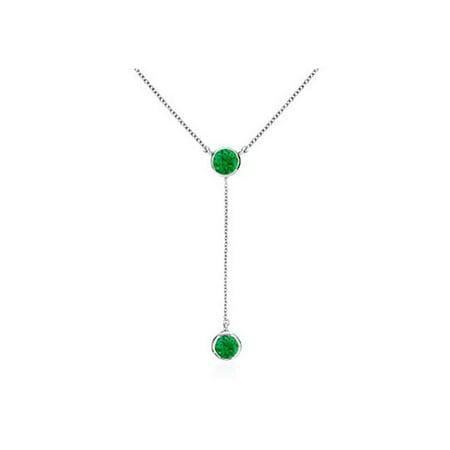 UBNKBK7039W14E Green Emerald Drop Necklace in 14K White Gold 0.20 Carat Total Gem - Pkg Emerald Green