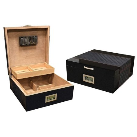 Leather Humidor - Prestige Import Group - Hampton Diamond Stitch Leather & Lacquer Finish Cigar Humidor - Capacity: Up to 200 - Color: Black