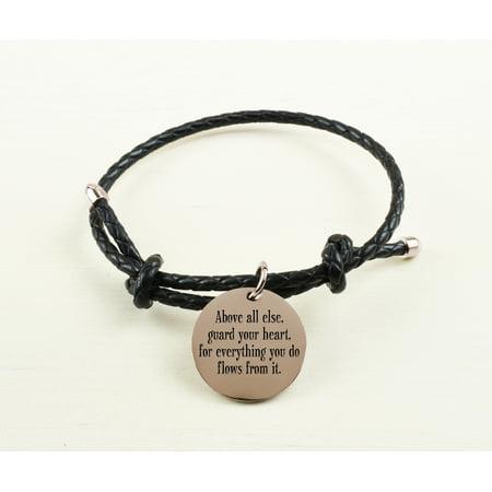 Inspirational Leather Bracelets (Braided Gold Inspirational Leather Bracelet - Above)