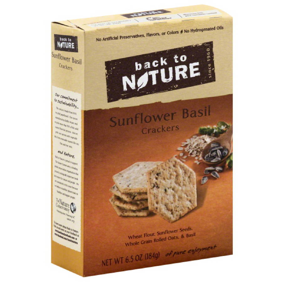 Back to Nature Sunflower Basil Crackers, 6.5 oz, (Pack of 6)