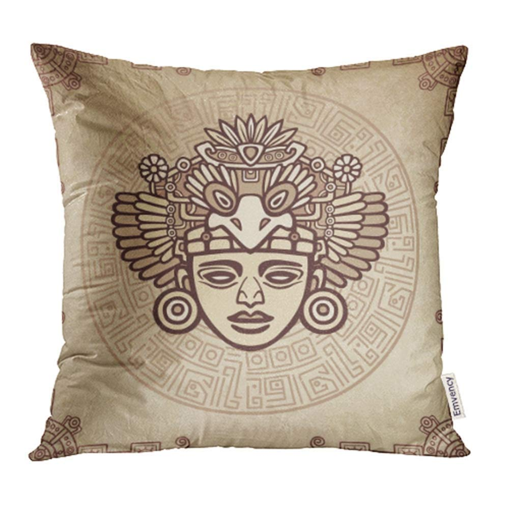 USART Beige Man Linear Drawing of Ancient Deity Magic Circle Imitation Old Brown Pillow Case Pillow Cover 20x20 inch Throw Pillow Covers