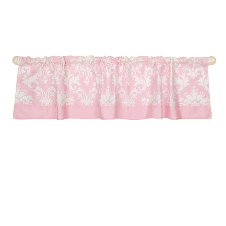 The Peanut Shell Window Valance - Pink Floral Damask Print - 100% Cotton Sateen, 53 Inches Wide, 14 Inch Drop](Pink Damask)
