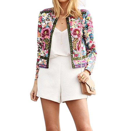 Lady Slim Long Sleeve Jacket Casual Floral Print (Floral Gingham Jacket)