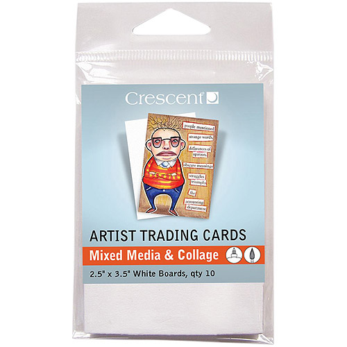 "Crescent Artist Trading Cards 2.5"" x 3.5"" 10pk, Mixed Media and Collage, White"