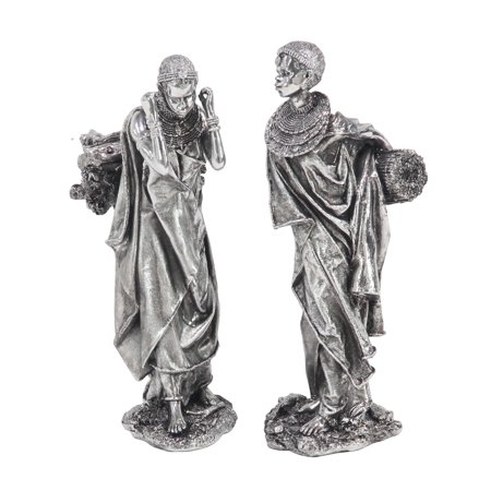 Reed & Barton Silver Sculpture (Decmode Set of 2 Modern Polystone Trading African Lady Sculptures,)