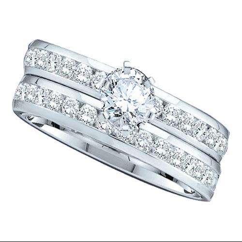 1.40Ctw Diamond Womens Bridal Set Fixed Ring Size - 7
