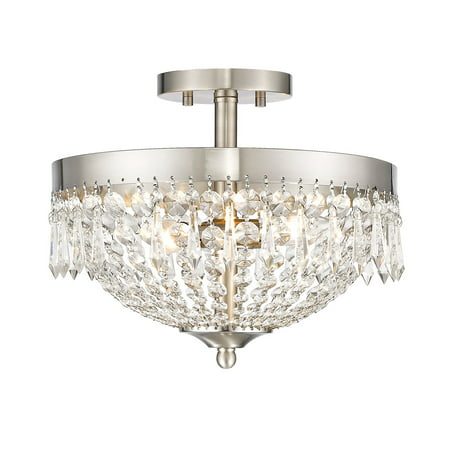 - Semi Flush 3 Light With Brushed Nickel Finish Steel Candelabra Base Bulb 13 inch 180 Watts
