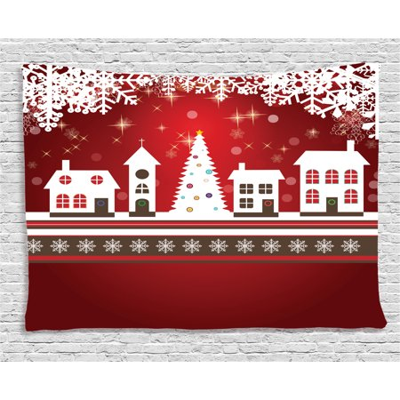 Christmas Decorations Tapestry, Winter Holidays Theme Gingerbread House Tree Lights and Snowflakes Art, Wall Hanging for Bedroom Living Room Dorm Decor, 80W X 60L Inches, Red White, by Ambesonne (Winter Themed Decorations)