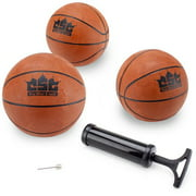 Brybelly Set of 3 5-Inch Mini Basketballs w/Needle, Inflation Pump