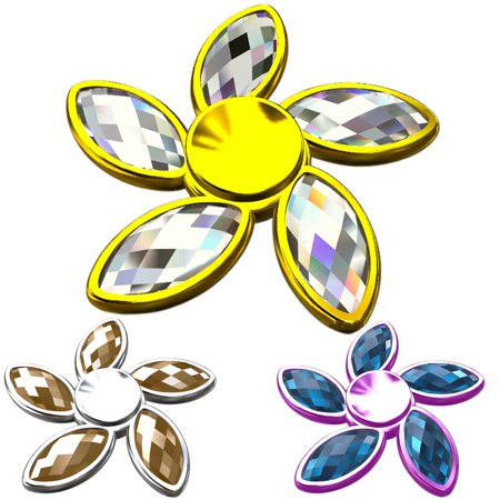 Bluelans Rhinestone Bauhinia Flower Fidget Hand Spinner Fingertip Gyro Edc Focus Toy Kids