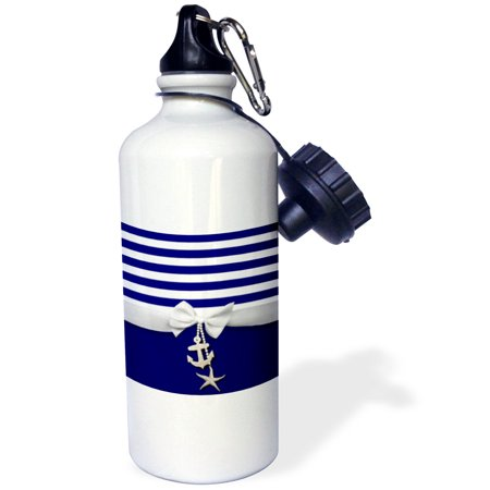 3dRose Nautical navy blue and white stripes - 2D ribbon bow graphic and printed anchor and starfish charms, Sports Water Bottle, - Ribbons And Bows