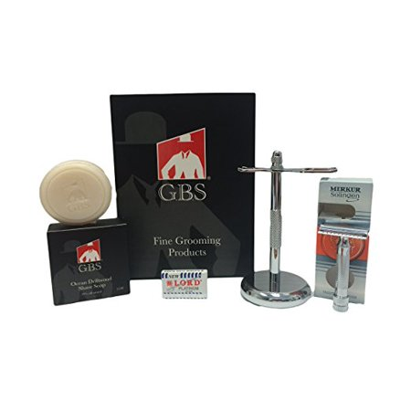Merkur Short Handle Safety Razor- 34c Heavy Duty (34001) with Chrome Brush and Razor stand, Free GBS soap + 5 pack of Blades! ()