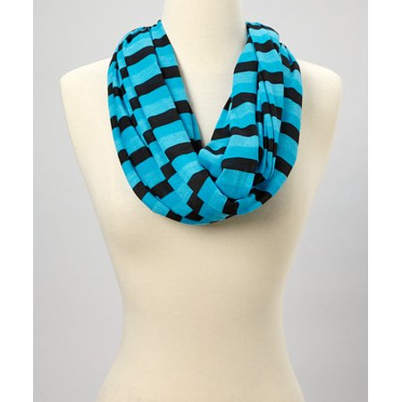 Amtal Women Two Color Stripes Knit Jersey Infinity Soft Casual Scarf - 5 Colors