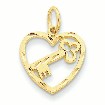 14K Yellow Gold Heart and Key Charm Pendant 14k Gold Heart Key