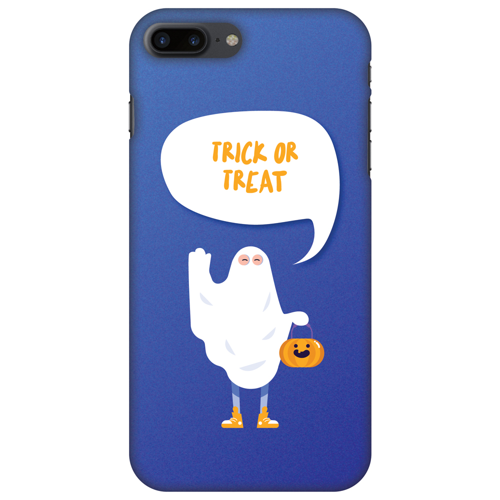 iPhone 7 Plus Case - Trick Or Treat - White Ghost, Hard Plastic Back Cover. Slim Profile Cute Printed Designer Snap on Case with Screen Cleaning Kit