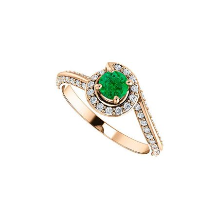 1 CT 14K Rose gold Green at Its Best in Emerald & Cubic Zirconia Swirl Halo Ring, Size
